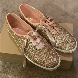 Kate Spade x Keds Rose Gold glitter sneakers